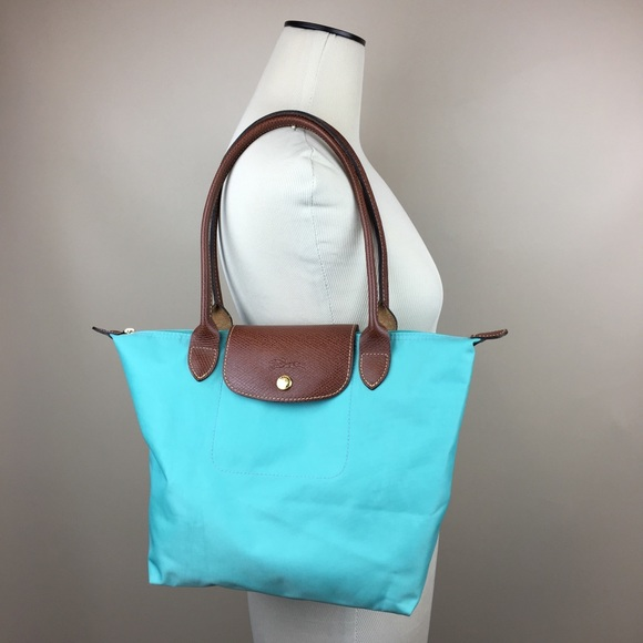 fffb075af7 Longchamp Handbags - Longchamp Le Pliage Mint Green Nylon Leather Tote